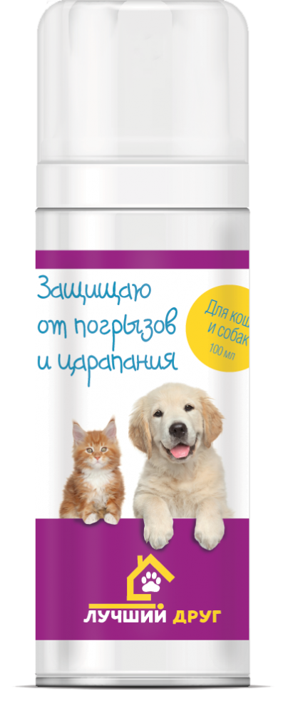 Спрей Лучший Друг Защищаю от погрызов и царапин для собак и кошек 100 мл