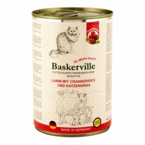 Баскервиль Консервы для котов ягнёнок с кошачьей мятой и клюквой 400 г