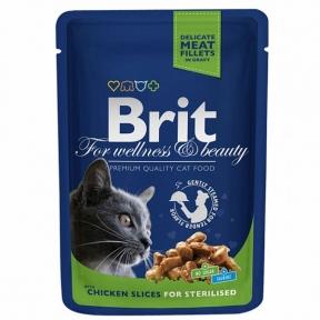 Brit Premium Cat pouch для стерилизованных кошек с курицей 100г