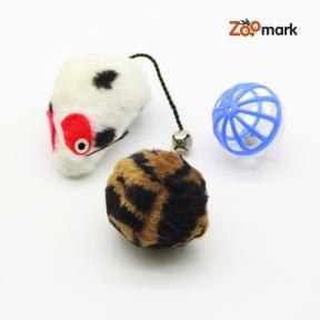 Набор игрушек для кошек цветная мышь, шар с пером, барабанчик