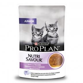 Purina Pro Plan Nutrisavour Junior консервы для котят кусочки индейки в паштете пауч 85 г