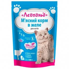 Леопольд Ассорти Желе ягненок сердце Консервы для котов 100 г