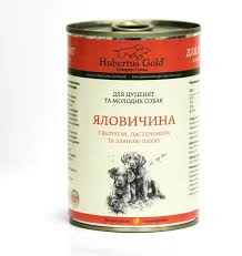 Хубертус Голд  Говядина, яблоко, льняное масло Консервы для щенков 400г