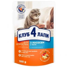 Клуб 4 лапы Премиум консервы для котов лосось в желе 100г