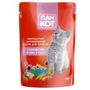 ПанКот консервы для кошек ягненок в соусе 100г 141050