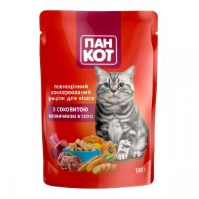 Пан-кот консервы для кошек говядина в соусе 100г ПАУЧ
