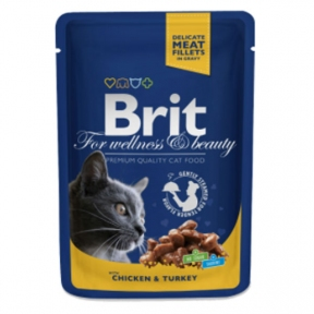 Brit Premium Cat pouch с курицей и индейкой 100г