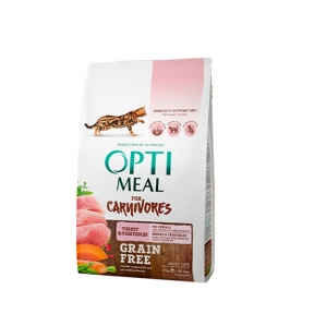 Optimeal беззерновой корм для котов с индейкой и овощами
