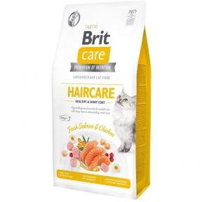 Brit Care Cat GF Haircare Healthy & Shiny Coat корм для кошек 2 кг + лакомство Brit Care Cat