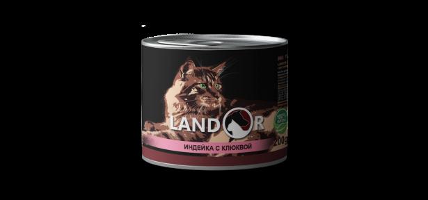 Landor консерва для стерилизованных кошек индейка с клюквой 200 г 539152