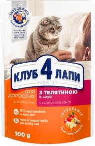 Клуб 4 лапы для котов Премиум телятина в Соусе 100г