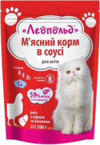 Леопольд Рагу в соусе курица печень Консервы для котов 100 г