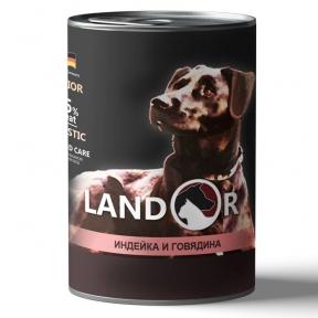 Landor консерва для щенков всех пород индейка с говядиной 400 г 539053