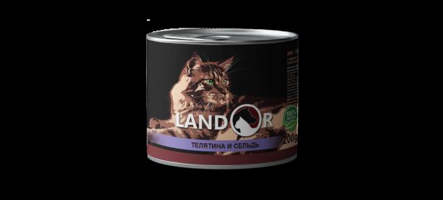 Landor консерва для пожилых кошек телятина с селедкой 200 г 539046