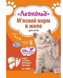 Леопольд Ассорти Желе мясо печень овощи Консервы для котов 100 г