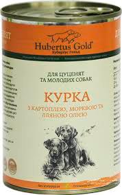 Хубертус  Голд Курица, картофель, морковь, льняное масло Консервы для щенков 400 г