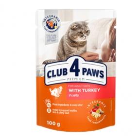 Клуб 4 лапы Премиум консервы для котов индейка в Желе 100г 364256