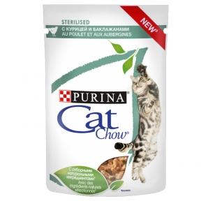 CAT CHOW консервы для стерилизованых кошек курица и баклажаны 85г