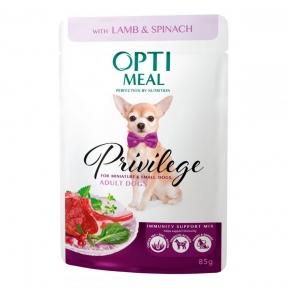 Optimeal для собак миниатюрных и малых пород с ягнятиной и шпинатом в соусе 85г