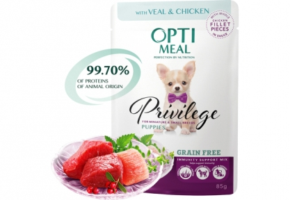 Optimeal ЗИ с телятиной и куриным филе для щенков мелких пород 85г