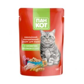 Пан-кот консервы для кошек кролик в соусе 100г ПАУЧ