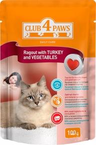 Клуб 4 лапы для котов Рагу индейка с овощами 100 г