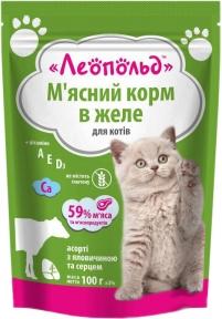 Леопольд с говядиной и сердцем в желе -  консервы для котов 100 г