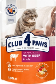 Клуб 4 лапы для котов Премиум говядина в Желе 100г 4409