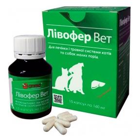 ЛИВОФЕР ВЕТ фитокомплекс на основе растительных экстрактов для печени собак и кошек 15 таблеток