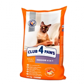 Клуб 4 лапы Премиум 14кг для котов индор 4 в 1