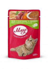 Мяу Желе телятина с овощами консервы для кошек 100 г
