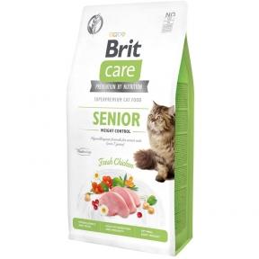 Brit Care Cat GF Senior Weight Control корм для кошек 2 кг + лакомство Brit Care Cat