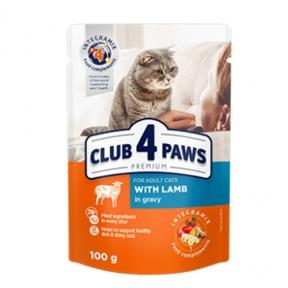 Клуб 4 лапы Премиум консервы для котов ягнёнок в соусе 100г 364270