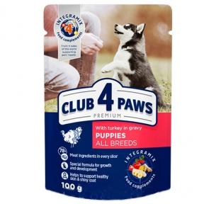 Клуб 4 лапы Премиум консервы для щенков индейка в соусе 100г 363198