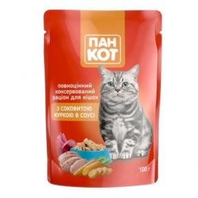 Пан-кот консервы для кошек курица в соусе 100г ПАУЧ