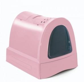Туалет для котов Imac Zuma Сat розовый закрытый c лопаткой 40*56*42.5 см