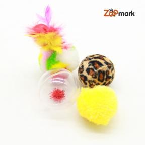 Набор игрушек для кошек 3 меховых шара и моток