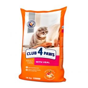 Клуб 4 лапы Премиум для котов телятина 14кг