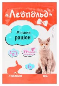 Леопольд Рацион мясо кролика Консервы для котов 100 г