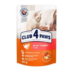 Клуб 4 лапы премиум консервы для котят индейка в Желе 80г 364263