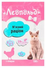 Леопольд Рацион мясо птицы Консервы для котов 100 г