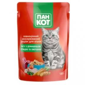 ПанКот консервы для кошек домашняя птица рагу с овощами пауч 100г 141012