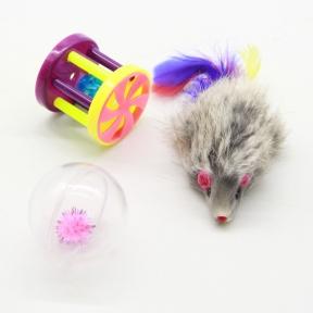 Набор игрушек для кошек мышь, барабанчик и шар