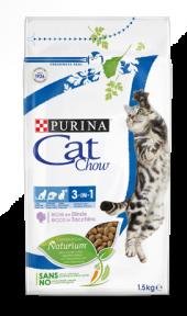 Cat Chow FELINE 3в1 сухой корм для котов с индейкой 1.5 кг