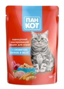 ПанКот консервы для кошек утка в желе пауч 100г 141043/140992