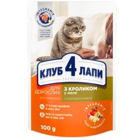 Клуб 4 лапы для котов Премиум кролик в Желе 100г