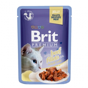 Brit Premium Cat pouch филе говядины в желе 85г