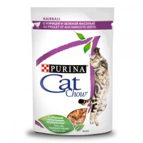 CAT CHOW Hairball консервы для выведения шерсти у кошек курица и зеленая фасоль 85г