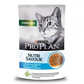 Purina Pro Plan Nutrisavour Sterilised консервы для стерилизованных кошек кусочки трески в паштете пауч 85г