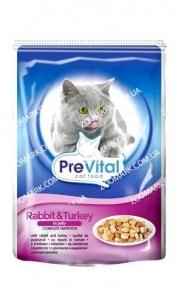 PreVital  кролик и индейка в желе консервы для кошек  100г